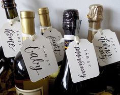 6 Year of Firsts Wine Bottle Tag * Wedding, Bride, Bridal Shower, Bridesmaid, MOH, Calligraphy