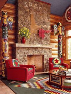 Great color in this Idaho log home