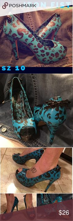 IRON FIST 💙 Wicked Aqua Blue Leopard Stilettos 💙 Iron Fist pleather aqua blue leopard print peep toe stilettos. Super high platform heels. Size 10. Excellent, clean condition with very minimal signs of use. Iron Fist Shoes Heels