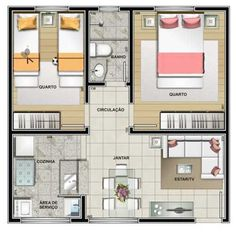 Planta 2 quartos airbnb ideas in 2 House Layout Plans, Floor Plan Layout, Small House Plans, House Layouts, House Floor Plans, Home Building Design, Home Design Plans, Building A House, Sims House Design