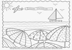 Ocean Coloring Pages, Summer Coloring Pages, Coloring Book Pages, Doodle Coloring, Free Coloring, Applique Cushions, School Murals, Summer Patterns, Summer Crafts