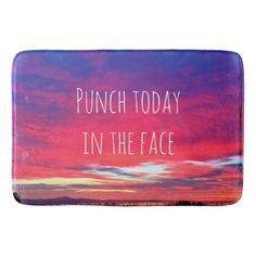 Punch quote hot pink & blue sunrise photo bath mat
