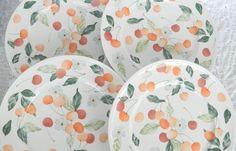 "Vintage Set of 4 Villeroy & Boch AMIGO Porcelain 9.75"" Luncheon Plates Cherries #VilleroyBoch"