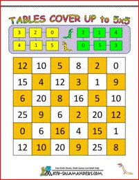 Tables Cover Up to 5x5 - a second grade math game to help your child learn their times tables facts up to 5x5