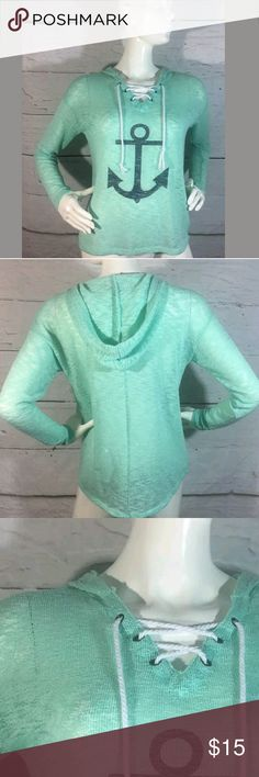 Almost Famous Top Women's Medium Long Sleeve Knit Almost Famous Top Women's Medium Long Sleeve Knit Hooded Anchor Seafoam Green  Excellent used condition.   22 inches pit to pit.  23.5 inches long.    LB Almost Famous Tops