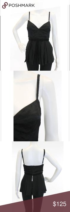 Jill Stuart Velvet Open Back Button V-Neck Tank Gorgeous black top in excellent condition. Jill Stuart Tops Blouses
