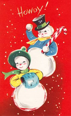 "A big, booming ""howdy!"" - Vintage Christmas Card"