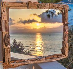 handmade large driftwood mirror κωδικός :17-116 Driftwood Mirror, Fantasy, Sea, Celestial, Sunset, Handmade, Painting, Outdoor, Outdoors