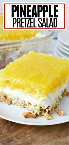 This light, fluffy Pineapple Pretzel salad has the perfect combination of sweet pineapple and salty pretzels. Made with cream cheese and whipped topping, it is the perfect dessert salad for any occasion. # Food and Drink salad PINEAPPLE PRETZEL SALAD Pretzel Desserts, Jello Desserts, Jello Recipes, Cold Desserts, Summer Desserts, Sweet Desserts, Easy Desserts, Sweet Recipes, Delicious Desserts