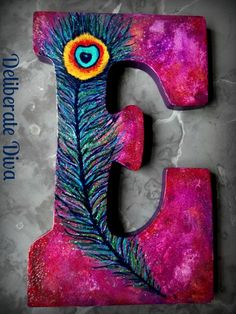 Purple Peacock  Large Letter S Appx9x7 Hand by deliberatediva, $28.00