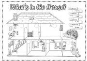 Parts of House Coloring Pages | what s in the house 2 pages furniture animals rooms of the house ...