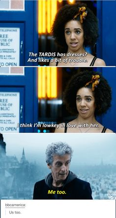 Doctor Who Series 10 Thin Ice Bill Potts Pearl Mackie Peter Capaldi  Wait I have dresses and I like a bit of trouble does that mean I'm the Tardis and people love me?