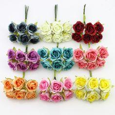 Hot sale 6pcs 2cm silk Artificial Rose flower Bouquet For Wedding Decoration Scrapbooking Decorative Wreath DIY Craft Flower