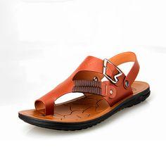 Hombres sandalias 2016 sandalias de verano la tendencia de los deslizadores de las sandalias de doble uso de cuero zapatos de verano 04