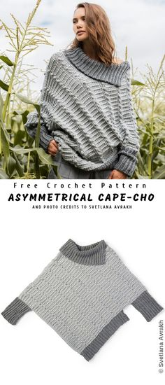 Asymmetrical Cape-Cho Sweater – Knitting patterns, knitting designs, knitting for beginners. Crochet Cardigan, Crochet Shawl, Crochet Cape, Crochet Pullover Pattern, Shawl Cardigan, Knitting Dress Pattern, Easy Crochet Patterns, Knitting Patterns Free, Easy Patterns