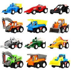 Yeonha Toys Pull Back Vehicles, 12 Pack Mini Assorted Construction Vehicles & Race Car Toy, Vehicles Truck Mini Car Toy for Kids Toddlers Boys Child, Pull Back & Go Car Toy Play Set Toddler Toys, Toddler Activities, Baby Toys, Church Activities, Fun Activities, Toy Cars For Kids, Best Kids Toys, Mini Car, Toys For Tots