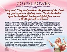 Gospel Power - Saturday, Assumption of the Blessed Virgin Mary