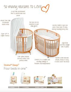 So many reasons to love oval-shaped unique convertible crib Stokke Sleepi !