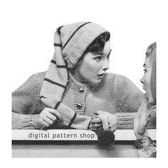 Womens Knit Hat Pattern Vintage Stocking Cap by DigitalPatternShop