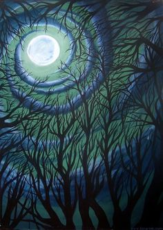 Trees & the moon <3  paint background then cutout sillouettes?
