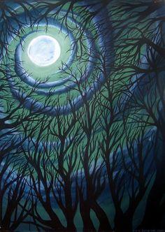 Trees the moon