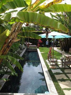gartengestaltungsideen pool betonplatten gras sonnenschirm