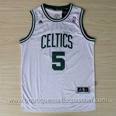 maillot nba pas cher Nuit latine Boston Celtics Garnett #5 Blanc nouveaux tissu