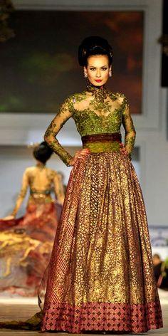 Long dress batik brokat anak