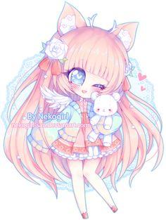 Chibi commission for ♡ ~Commission infos~ Art © Nekogirl Character © CrystalCut Chibi Kawaii, Cute Anime Chibi, Kawaii Art, Cute Cartoon Characters, Chibi Characters, Anime Art Girl, Manga Girl, Chibi Girl Drawings, Dibujos Anime Chibi