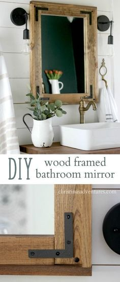 DIY wood framed bathroom mirror - a simple project that doesn't require any fancy tools! Great for your farmhouse inspired bathroom, and can keep you on a budget.