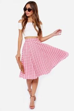 "Perfect for an afternoon in the park, or an outdoor concert, the Pleasant Picnic Red Plaid Skirt has all your bases covered! This woven medium-weight skirt has a red and ivory plaid pattern with a raised stitch detail, giving its fitted waistline and flared silhouette a very retro vibe. A single white button secures the waistline. Hidden back zipper. Full stretch-knit lining. Model is 5'7"" and wearing a size small. 100% Polyester. Hand Wash Cold. Imported."
