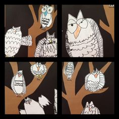 "Kindergarten owls from the story of ""The Snowy Owl"""