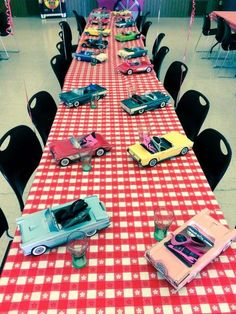 Party table at a 50's diner retro birthday party! See more party ideas at CatchMyParty.com!