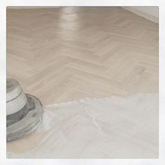 European Oak herringbone pattern wood floor finished with WOCA Diamond Oil White