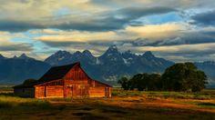 Mountain Sunrise Sunset Scenery | Cabin Landscape Scenic Farm Barn Mountain Sunrise Sunset Sky Cloud ...