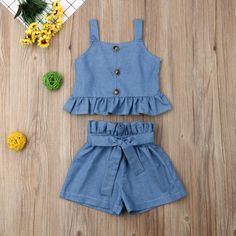 Baby Girl Cloth Sleeveless T-Shirt Tops+Bowknot Pants Shorts Sets Clothes Summer Solid Color Toddler Kids Outfits Clothing Baby Girl Dress Design, Baby Girl Dresses, Baby Dress, Little Girl Outfits, Cute Outfits For Kids, Toddler Outfits, Baby Girl Fashion, Kids Fashion, Kids Western Wear