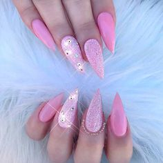 Something Beautiful: Get Inspired With Amazing Pink Acrylic Nails - Schönheit Nageldesign Perfect Nails, Gorgeous Nails, Pretty Nails, Amazing Nails, Nail Art Designs, Acrylic Nail Designs, Pink Acrylic Nails, Glitter Nails, Nail Pink