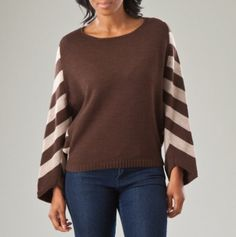 Dolman Sleeve Stripe Pullover Sweater
