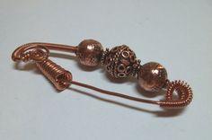 Copper Fibula Pin by Suzjewelry on Etsy, $21.00