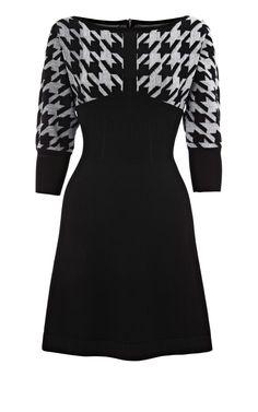 Karen Millen Oversize Puppy Tooth Knit Dress [#KMM125] - $81.43 :