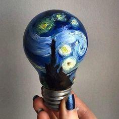 from - Starry Night Artist: - by batbase_fanclub_brazil Light Bulb Art, Painted Light Bulbs, Arte Van Gogh, Van Gogh Art, Art Hoe Aesthetic, Creation Art, Cd Art, Small Canvas Art, Van Gogh Paintings