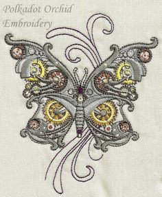 Steampunk Butterfly Embroidered Apron