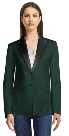 Green Single Breasted Blazer with Black Shiny Lapels Blazers For Women, Suits For Women, Party Jackets, Custom Made Clothing, Thing 1, Business Casual Dresses, High Waisted Pencil Skirt, Casual Blazer, Blazer Dress