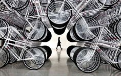 Forever bikes installation by Ai Weiwei in Taipei exhibition