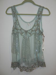 Urban Outfitters Sheer Sequin Tank Top by Willow and Clay Blue Green Size S | eBay
