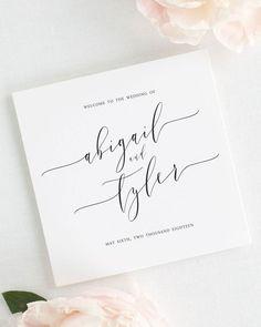 Romantic Calligraphy Wedding Programs