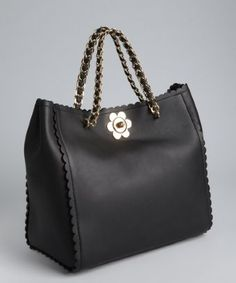 Mulberry: black leather 'Cecily' flower lock tote bag