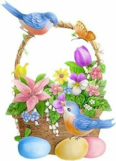 .♥ Blue birds on the Easter basket of flowers and colored eggs