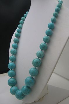 Cracked Genuine Turquoise Necklace 23 inches from antiquesalad on Ruby Lane