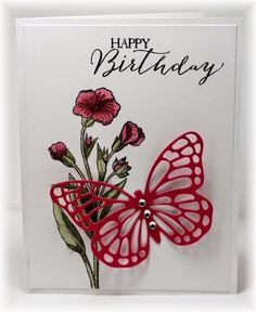The card - stamped images are from SU. The flower is stamped with black and colored with Copics. The butterfly (from SU) is die cut an. Simple Birthday Cards, Birthday Cards For Women, Handmade Birthday Cards, Happy Birthday Cards, Birthday Greetings, Butterfly Cards, Flower Cards, Butterfly Template, Butterfly Dragon